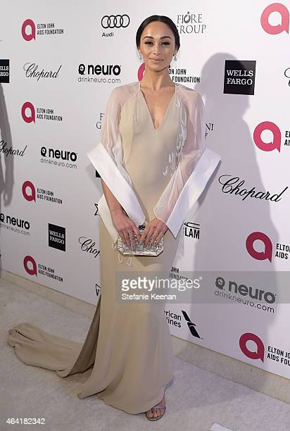 Actress Cara Santana attends the 23rd Annual Elton John AIDS Foundation Academy Awards viewing party with Chopard on February 22 2015 in Los Angeles...