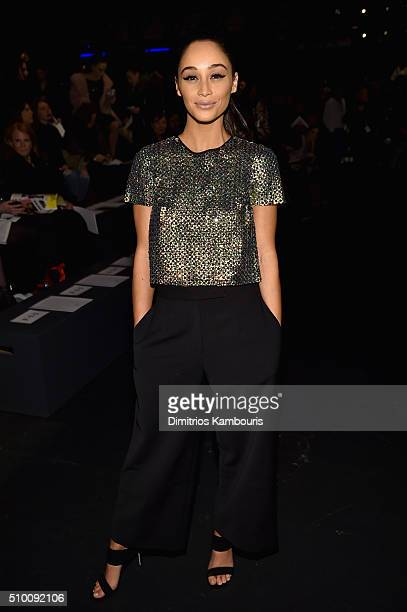 Actress Cara Santana attends the Monique Lhuillier Fall 2016 fashion show during New York Fashion Week The Shows at The Arc Skylight at Moynihan...