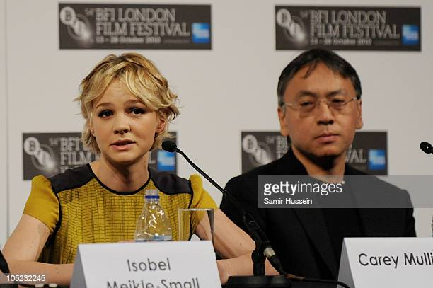 Actress Carey Mulligan and author Kazuo Ishiguro attend the 'Never Let Me Go' press conference during 54th BFI London Film Festival at the Vue West...