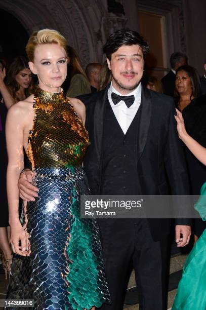 Actress Carey Mulligan and singer Marcus Mumford leave an after party at the Ukrainian Institute of America on May 7 2012 in New York City