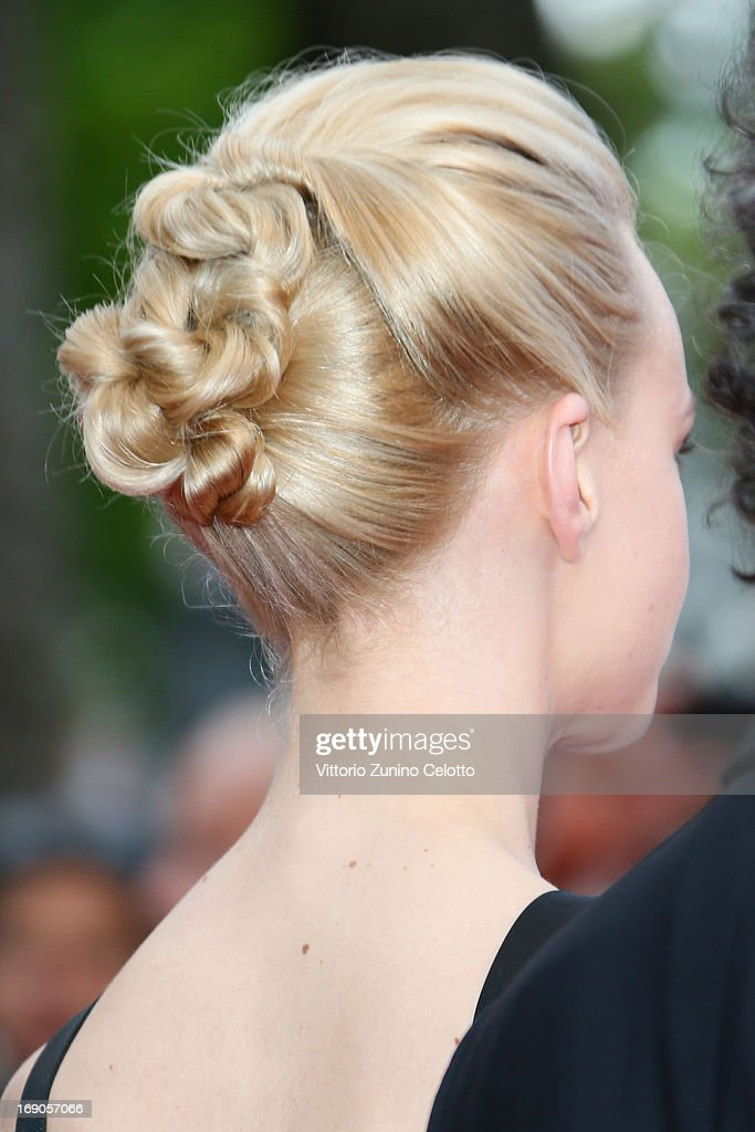 Actress Carey Mulligan (hair detail) attends 'Inside Llewyn Davis' Premiere during the 66th Annual Cannes Film Festival at Palais des Festivals on May 19, 2013 in Cannes, France.