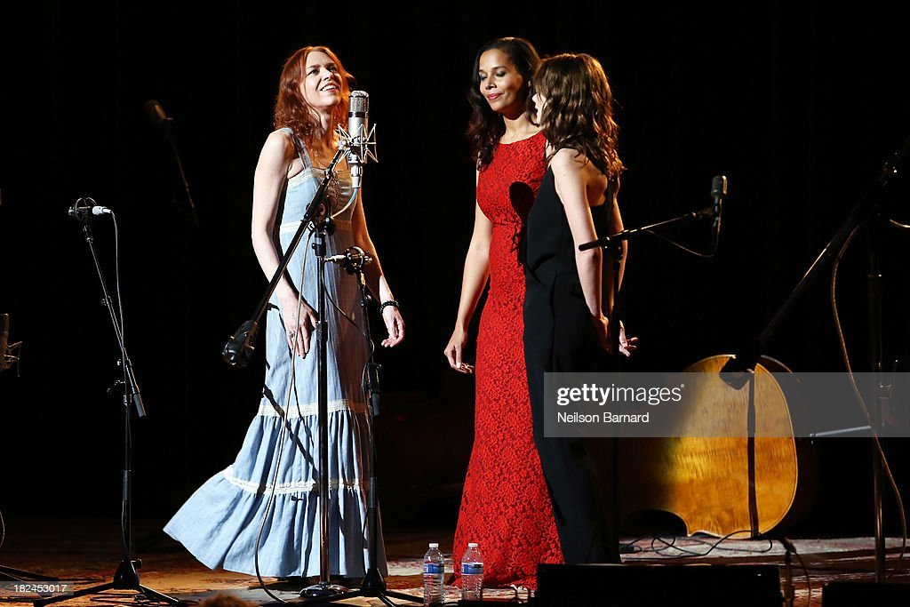 Actress Carey Mulligan (R) performs on stage with Gillian Welch and Rhiannon Giddens during the one-night-only concert 'Another Day, Another Time: Celebrating The Music Of Inside Llewyn Davis Presented By Joel Coen, Ethan Coen and T Bone Burnett' and featuring actors Oscar Isaac, John Goodman, Carey Mulligan, Stark Sands and musicians Jack White, Patti Smith, Willie Watson, Gillian Welch, Dave Rawlings, Secret Sisters, Punch Brothers, Connor Oberst, Marcus Mumford, Colin Meloy, Lake Street Dive, Rhiannon Giddens, Joan Baez and The Avett Brothers at The Town Hall on September 29, 2013 in New York City.