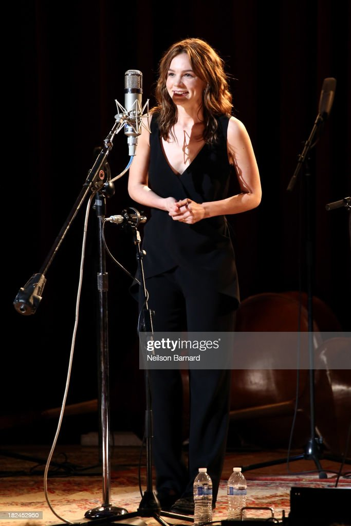 Actress <a gi-track='captionPersonalityLinkClicked' href=/galleries/search?phrase=Carey+Mulligan&family=editorial&specificpeople=2262681 ng-click='$event.stopPropagation()'>Carey Mulligan</a> speaks on stage before performing with Gillian Welch and Rhiannon Giddens during the one-night-only concert 'Another Day, Another Time: Celebrating The Music Of Inside Llewyn Davis Presented By Joel Coen, Ethan Coen and T Bone Burnett' and featuring actors Oscar Isaac, John Goodman, <a gi-track='captionPersonalityLinkClicked' href=/galleries/search?phrase=Carey+Mulligan&family=editorial&specificpeople=2262681 ng-click='$event.stopPropagation()'>Carey Mulligan</a>, Stark Sands and musicians Jack White, Patti Smith, Willie Watson, Gillian Welch, Dave Rawlings, Secret Sisters, Punch Brothers, Connor Oberst, Marcus Mumford, Colin Meloy, Lake Street Dive, Rhiannon Giddens, Joan Baez and The Avett Brothers at The Town Hall on September 29, 2013 in New York City.