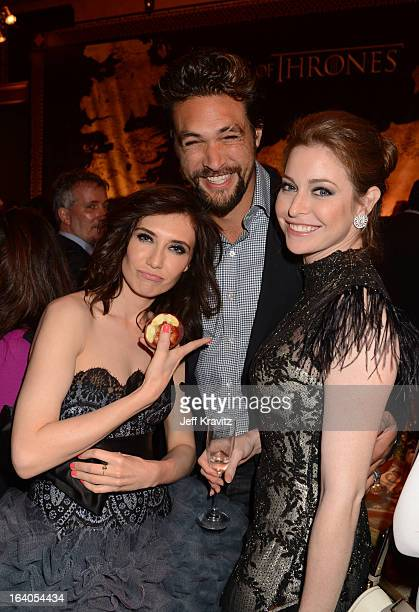 Actress Carice van Houten actor Jason Momoa and actress Esmé Bianco attend the afterparty for the Los Angeles Premiere of 'Game Of Thrones' presented...