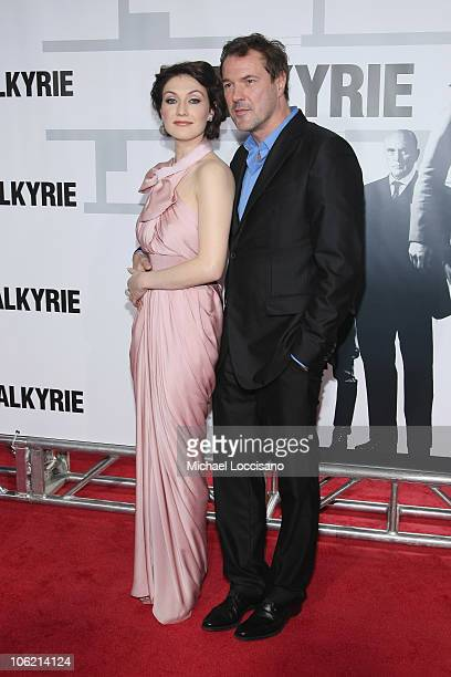 Actress Carice van Houten and Sebastian Koch attend the New York premiere of 'Valkyrie' at Rose Hall Time Warner Center on December 15 2008 in New...