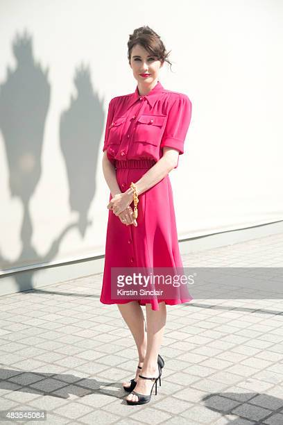 Actress Carice Van Houten wears Schiaparelli and Roger Vivier shoes on day 2 of Paris Fashion Week Haute Couture Autumn/Winter 2015 on July 6 2015 in...