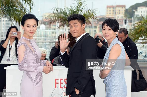 Actress Carina Lau actor Kun Chen and director Flora Lau attend the photocall for 'Bends' during The 66th Annual Cannes Film Festival at the Palais...