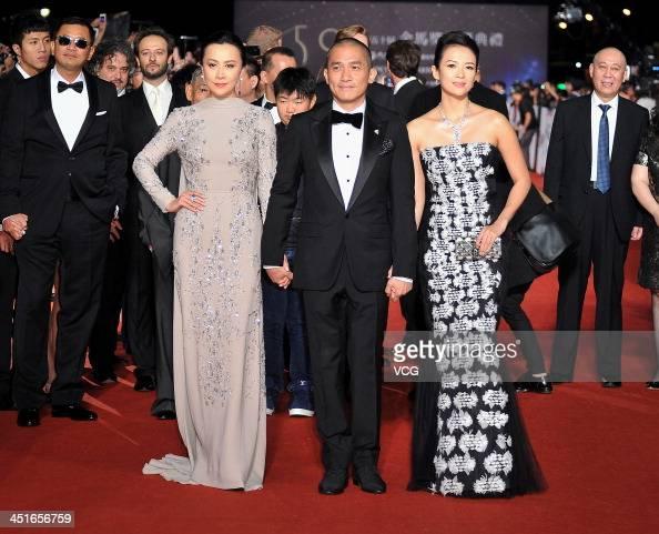 Actress Carina Lau actor Tony Leung ChiuWai and actress Zhang Ziyi arrive on the red carpet of the 50th Golden Horse Awards at Sun Yatsen Memorial...