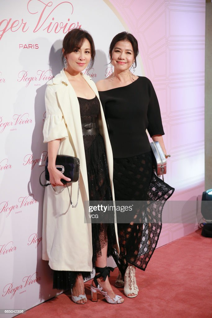 Actress Carina Lau (L) and actress Cherie Chung attend Roger Vivier activity on April 5, 2017 in Hong Kong, China.