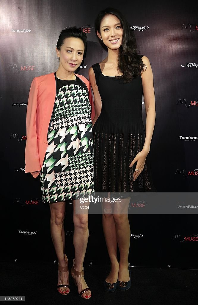 Actress Carina Lau and model Zhang Zilin attend the Tendence Watch store opening ceremony on July 12 2012 in Shanghai China