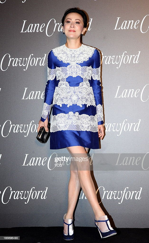 Actress Carina Lau attends Lane Crawford flagship store opening ceremony at Shanghai Times Square on October 23, 2013 in Shanghai, China.