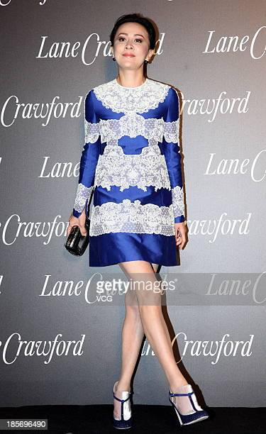 Actress Carina Lau attends Lane Crawford flagship store opening ceremony at Shanghai Times Square on October 23 2013 in Shanghai China