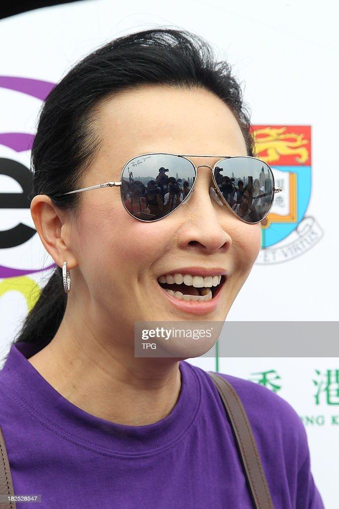 Actress Carina Lau attends public activity held by Hong Kong Anti-cancer Society on Sunday Sep 29,2013 in Hong Kong,China.