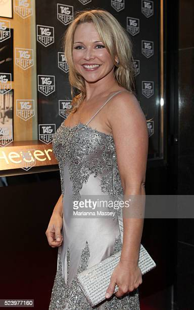 Actress Carla Bonner arrives at the Tag Heuer boutique in Melbourne where F1 World Chapion Jenson Button was the honoree for the night Tag Heuer...