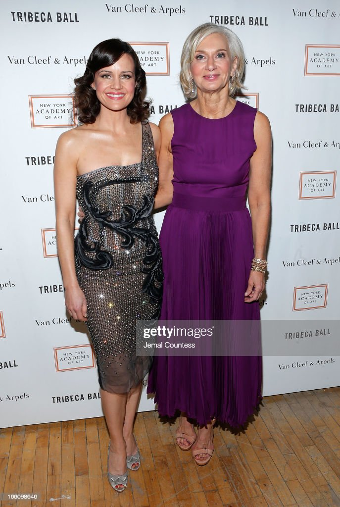 Actress <a gi-track='captionPersonalityLinkClicked' href=/galleries/search?phrase=Carla+Gugino&family=editorial&specificpeople=207137 ng-click='$event.stopPropagation()'>Carla Gugino</a> and Eileen Guggenheim attend the 2013 Tribeca Ball at New York Academy of Art on April 8, 2013 in New York City.