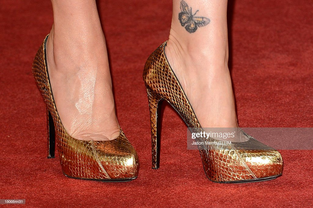 Actress Carla Gugino (shoe detail) arrives at the Hollywood Foreign Press Association's 2012 Installation Luncheon held at the Beverly Hills Hotel on August 9, 2012 in Beverly Hills, California.