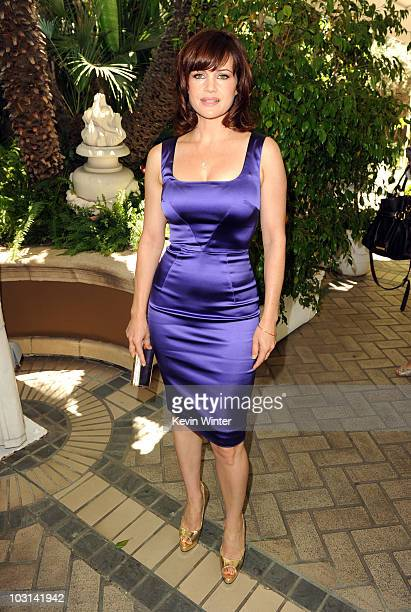 Actress Carla Gugino arrives at the Hollywood Foreign Press Association's Installation Luncheon held at The Four Seasons Hotel on July 28 2010 in...