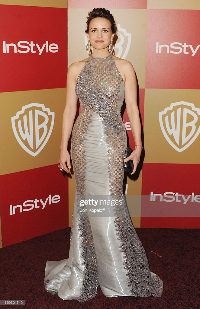 Actress Carla Gugino arrives at the InStyle And Warner Bros. Golden Globe Party at The Beverly Hilton Hotel on January 13, 2013 in Beverly Hills, California.