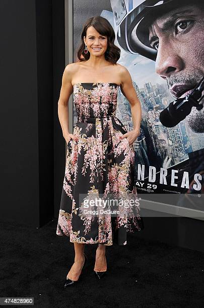 Actress Carla Gugino arrives at the Los Angeles premiere of 'San Andreas' at TCL Chinese Theatre IMAX on May 26 2015 in Hollywood California