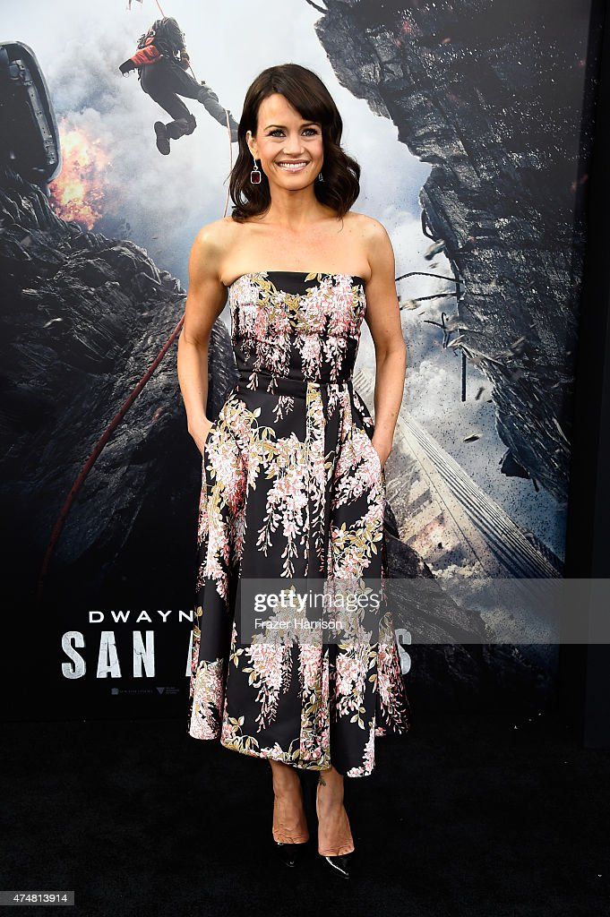 Actress Carla Gugino attends the premiere of Warner Bros Pictures' 'San Andreas' at the TCL Chinese Theatre on May 26 2015 in Hollywood California
