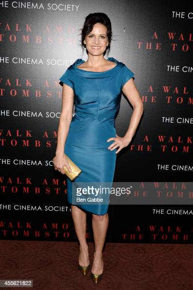 Actress Carla Gugino attends the Universal Pictures and Cross Creek Pictures with The Cinema Society screening of 'A Walk Among the Tombstones' at...