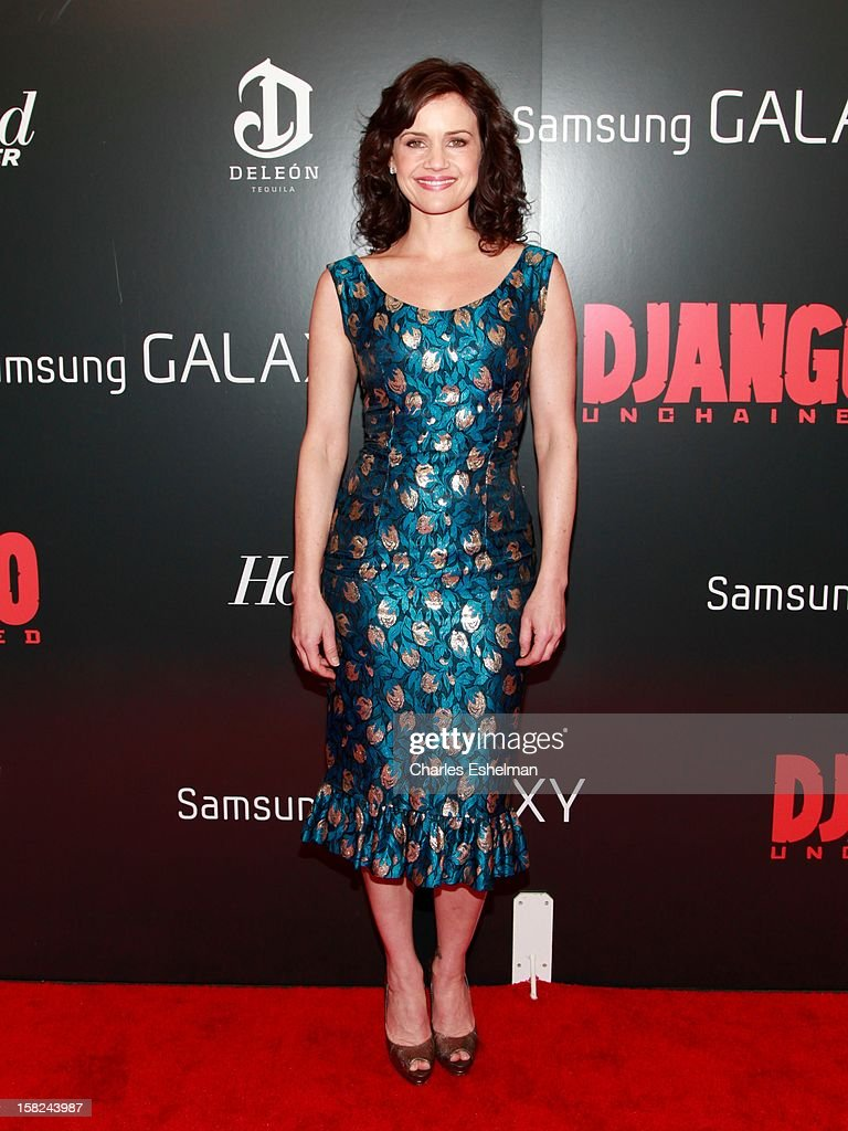 Actress Carla Gugino attends The Weinstein Company With The Hollywood Reporter, Samsung Galaxy And The Cinema Society Host A Screening Of 'Django Unchained' at Ziegfeld Theater on December 11, 2012 in New York City.
