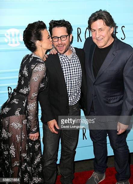 Actress Carla Gugino executive producer JJ Abrams and executive producer Cameron Crowe attend the premiere for Showtime's 'Roadies' at The Theatre at...