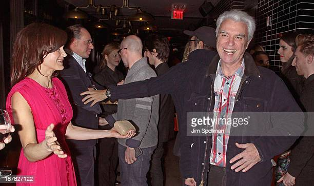 Actress Carla Gugino musician David Byrne attend the after party for the premiere of 'Philomena' hosted by The Weinstein Company at The Skylark on...