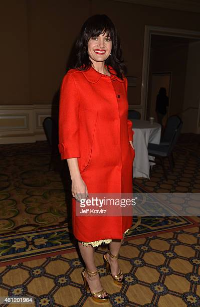 Actress Carla Gugino waits in the lobby after 'The Brink' panel as part of the 2015 HBO Winter Television Critics Association press tour at the...