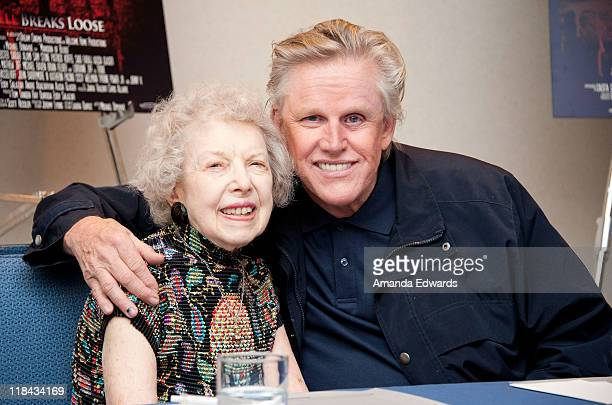 Actress Carla Laemmle and actor Gary Busey attend the 'Mansion of Blood' press conference at the Renaissance Hollywood Hotel on July 7 2011 in...
