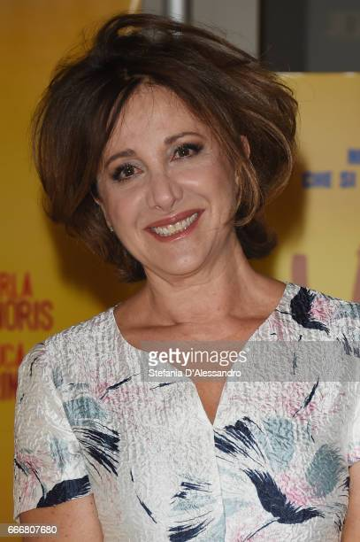 Actress Carla Signoris attends a photocall for 'Lasciati Andare' on April 10 2017 in Milan Italy