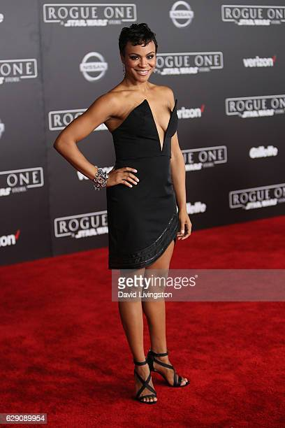Actress Carly Hughes arrives at the premiere of Walt Disney Pictures and Lucasfilm's 'Rogue One A Star Wars Story' at the Pantages Theatre on...