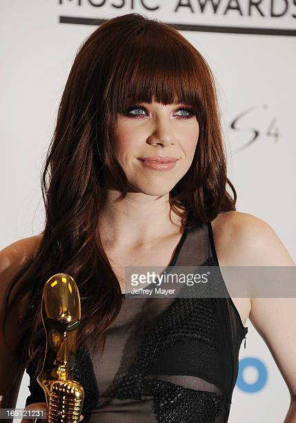 Actress Carly Rae Jepsen poses in the press room at the 2013 Billboard Music Awards at MGM Grand Garden Arena on May 19 2013 in Las Vegas Nevada