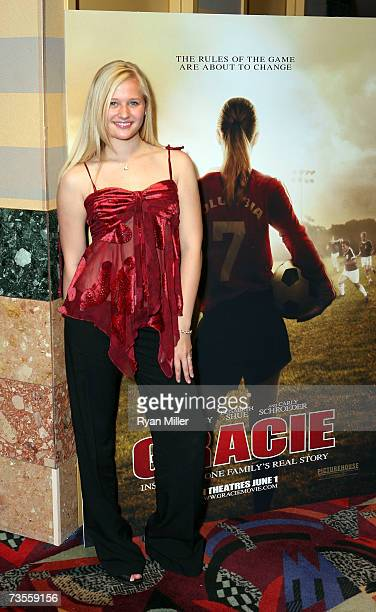 Actress Carly Schroeder poses after a screening of Picturehouse's 'Gracie' standee at the Showcase of Independent Films at the Orleans Hotel during...