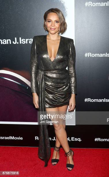 Actress Carmen Ejogo attends the'Roman J Israel Esquire' New York premiere at Henry R Luce Auditorium at Brookfield Place on November 20 2017 in New...