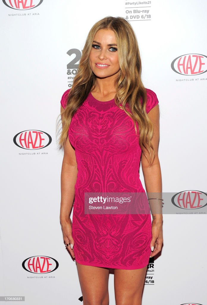 Actress Carmen Electra arrives at the '21 & Over' DVD release party at Haze Nightclub at the Aria Resort & Casino at CityCenter on June 13, 2013 in Las Vegas, Nevada.