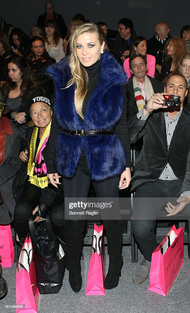 Actress <a gi-track='captionPersonalityLinkClicked' href=/galleries/search?phrase=Carmen+Electra&family=editorial&specificpeople=171242 ng-click='$event.stopPropagation()'>Carmen Electra</a> attends Betsey Johnson during Fall 2013 Mercedes-Benz Fashion Week at The Studio at Lincoln Center on February 11, 2013 in New York City.