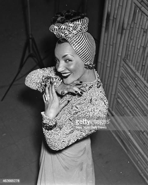 Actress Carmen Miranda at the New color studio