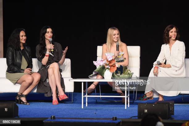 Actress Carmen Perez Director Sarah Sophie Flicker Television Personality Chloe Lukasiak and Actress Paola Mendoza speak onstage during Beautycon...