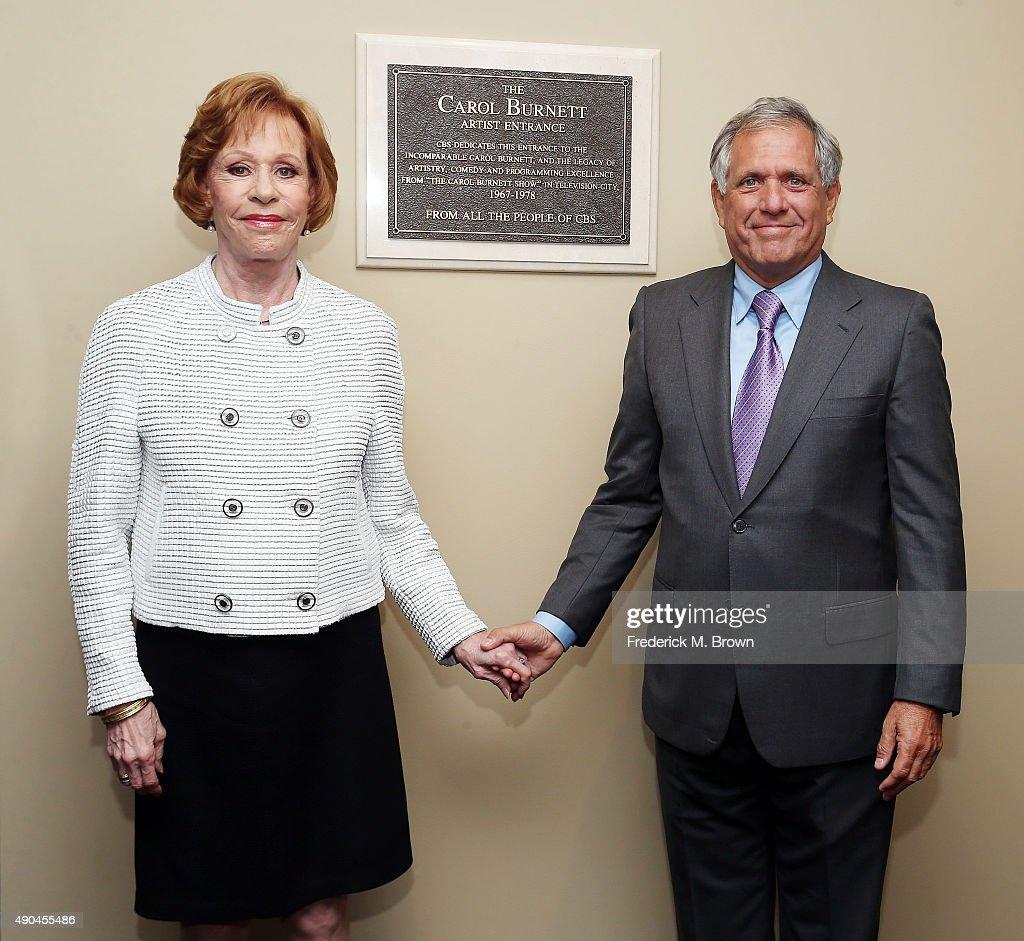 Actress Carol Burnett and Leslie Moonves Chairman and CEO of CBS attend Carol Burnett Dedication Ceremony at CBS Studios on September 28 2015 in Los...
