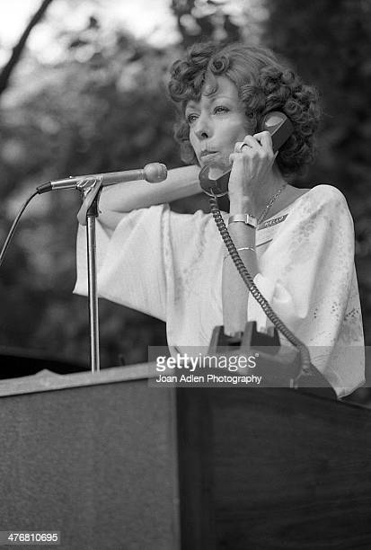 Actress Carol Burnett performs a comical bit while attending an ERA event hosted by and at the home of actress producer and social activist Marlo...