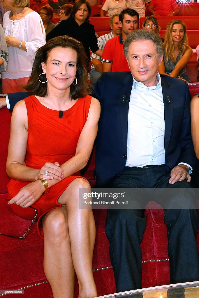 Actress <a gi-track='captionPersonalityLinkClicked' href=/galleries/search?phrase=Carole+Bouquet&family=editorial&specificpeople=208685 ng-click='$event.stopPropagation()'>Carole Bouquet</a> and TV presenter <a gi-track='captionPersonalityLinkClicked' href=/galleries/search?phrase=Michel+Drucker&family=editorial&specificpeople=769504 ng-click='$event.stopPropagation()'>Michel Drucker</a> attend the 'Vivement Dimanche' French TV Show at Pavillon Gabriel on September 17, 2014 in Paris, France.