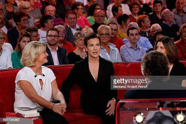 Actress Carole Bouquet and Valerie Karsanti present them new Theater Play 'Home' during 'Vivement Dimanche' TV Show at Pavillon Gabriel on November...