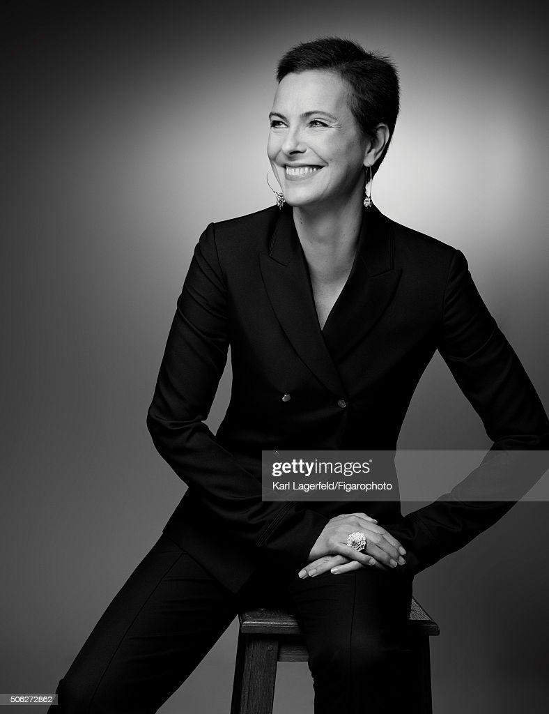 Actress <a gi-track='captionPersonalityLinkClicked' href=/galleries/search?phrase=Carole+Bouquet&family=editorial&specificpeople=208685 ng-click='$event.stopPropagation()'>Carole Bouquet</a> is photographed for Madame Figaro on November 18, 2015 in Paris, France. Suit (Hermès), jewelry personal. PUBLISHED IMAGE.