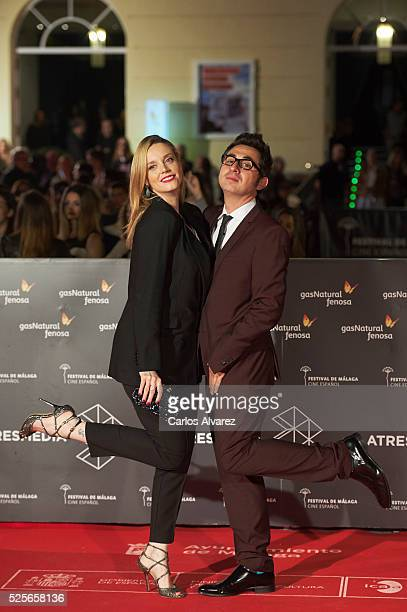 Actress Carolina Bang and actor Berto Romero attend 'La Ultima Piel' premiere at the Cervantes Teather during the 19th Malaga Film Festival on April...