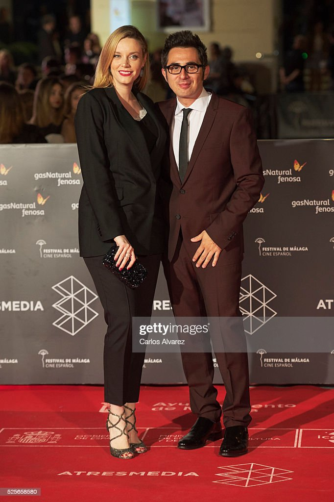 Actress Carolina Bang and actor Berto Romero attend 'La Ultima Piel' premiere at the Cervantes Teather during the 19th Malaga Film Festival on April 28, 2016 in Malaga, Spain.