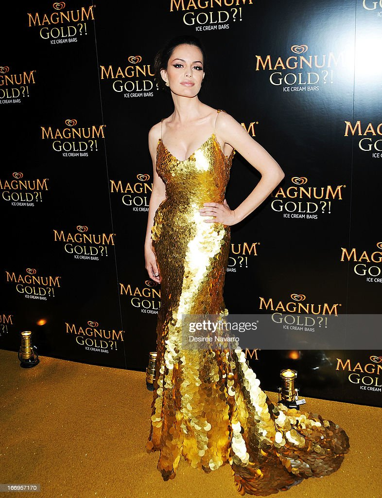 Actress Caroline Correa (wearing Zac Posen's one of a kind 24k gold dress) attends the screening of 'As Good As Gold' during the 2013 Tribeca Film Festival at Gotham Hall on April 18, 2013 in New York City.