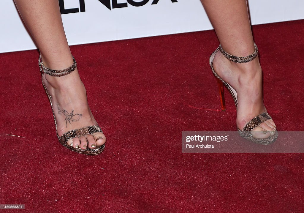 Actress Caroline D'Amore (Shoe Detail) attends the opening of the new bar Riviera 31 at the Sofitel L.A. Hotel on January 15, 2013 in Beverly Hills, California.