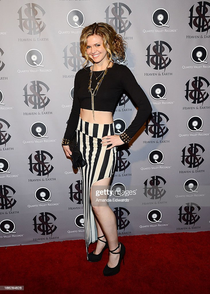 Actress Caroline Heinle arrives at the Heaven and Earth 'Dig' world premiere album release party at The Fonda Theatre on April 10, 2013 in Los Angeles, California.