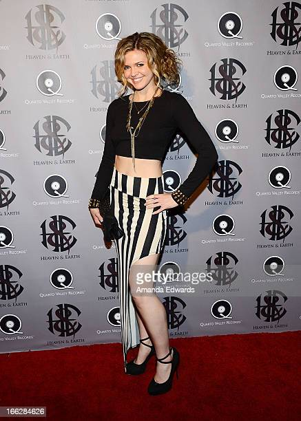 Actress Caroline Heinle arrives at the Heaven and Earth 'Dig' world premiere album release party at The Fonda Theatre on April 10 2013 in Los Angeles...